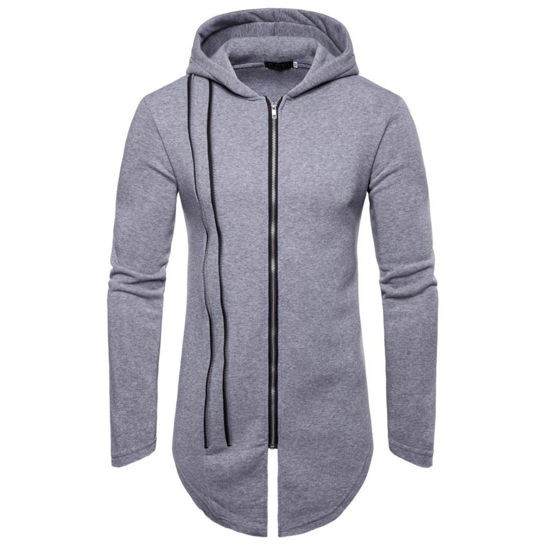 Clearance Sale! 2018 baskuwish Men's Long Sleeve Autumn Winter Splicing Pocket Casual Sweatshirt Hoodies Blouse (XL, Gray)