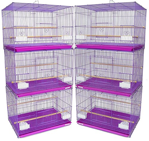 "Mcage Lot of 6 Aviary Breeding Bird Finch Parakeet Aviary Canary Lovebird Budgie Flight Cage 24""x16""x16""H (Lavender)"