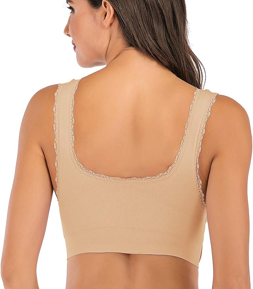 XSBB Women Lace-U-Back Lifting Bra DOT Mesh Ultra Thin Low Back Comfort Lace Bra Yoga Sport Bra