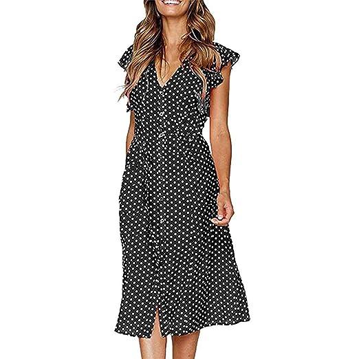 4fbaf51752279 Women's Summer Vintage Wrap Dress V Neck Boho Ruffle Polka Dot Long ...