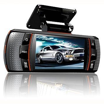 lonshell doble lente coche DVR vehículo cámara, pantalla de 2.7 pulgadas Full HD 1080p, grabador de vídeo Dash Cam con GPS G-sensor HDMI (negro): Amazon.es: ...