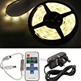 JnDee™ Full Kit WARM White 5 Metres DIMMABLE LED Strip Tape +Transformer/Power Supply + RF Wireless Dimmer Flasher with Remote Control