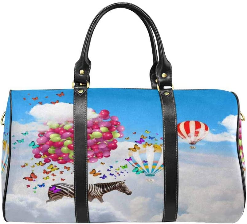 InterestPrint Unisex Duffel Bag Carry-on Bag Overnight Bag Weekender Bag Zebra Flying in Sky