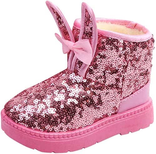 Kids Girls Sequin Glitter Fur Lined Snow Boots Winter Casual Slip On Warm Shoes