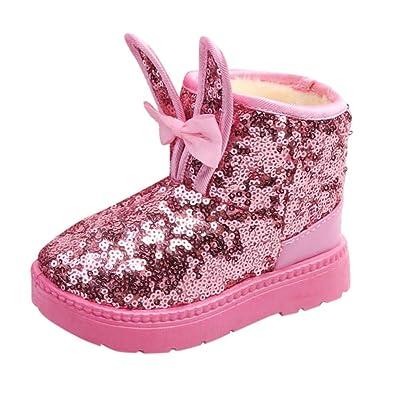 8df6e52a4b Amazon.com: Fheaven Kids Baby Girls Winter Snow Boots Rabbit Ear ...