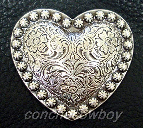 JumpingLight Set of 6 Western Horse Saddle TACK Antique Heart Berry Conchos 1-1/2'' Screw Back Perfect for Crafts, Scrap-Booking, Jewelry, Projects, Quilts