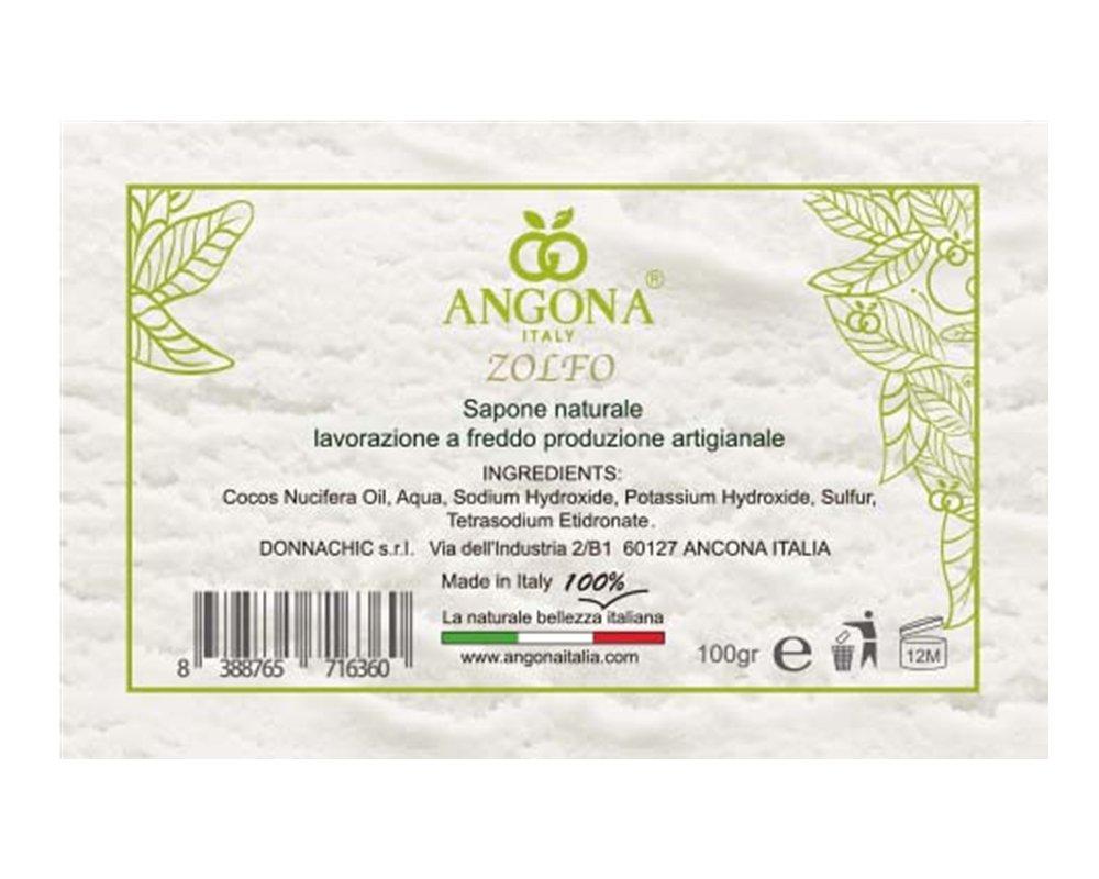 ANGONA Sapone 100% Naturale allo Zolfo 100g -Anti-infiammatori ed Antibatterica per pelle grassa e con imperfezioni- Prodotto Italiano lavorazione artigianale a temperatura bassa DONNA CHIC s.r.l