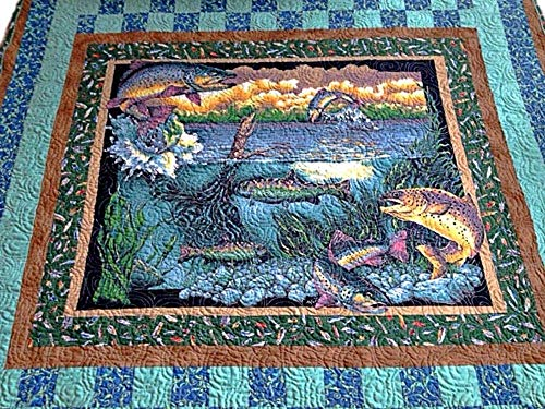 """Fishing Handmade Lap Quilt, Quilted Throw, Modern Quilt for Sale, Homemade Quilt - Ready to Ship – 59"""" x 69"""""""