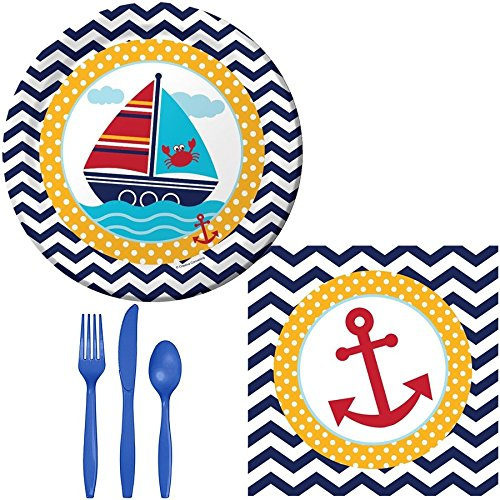 Party-Kit-for-16-Birthday-or-Baby-Shower-etc-Plates-Napkins-Cutlery-Set-with-Kraft-Happy-Birthday-Smiley-Face-Stickers