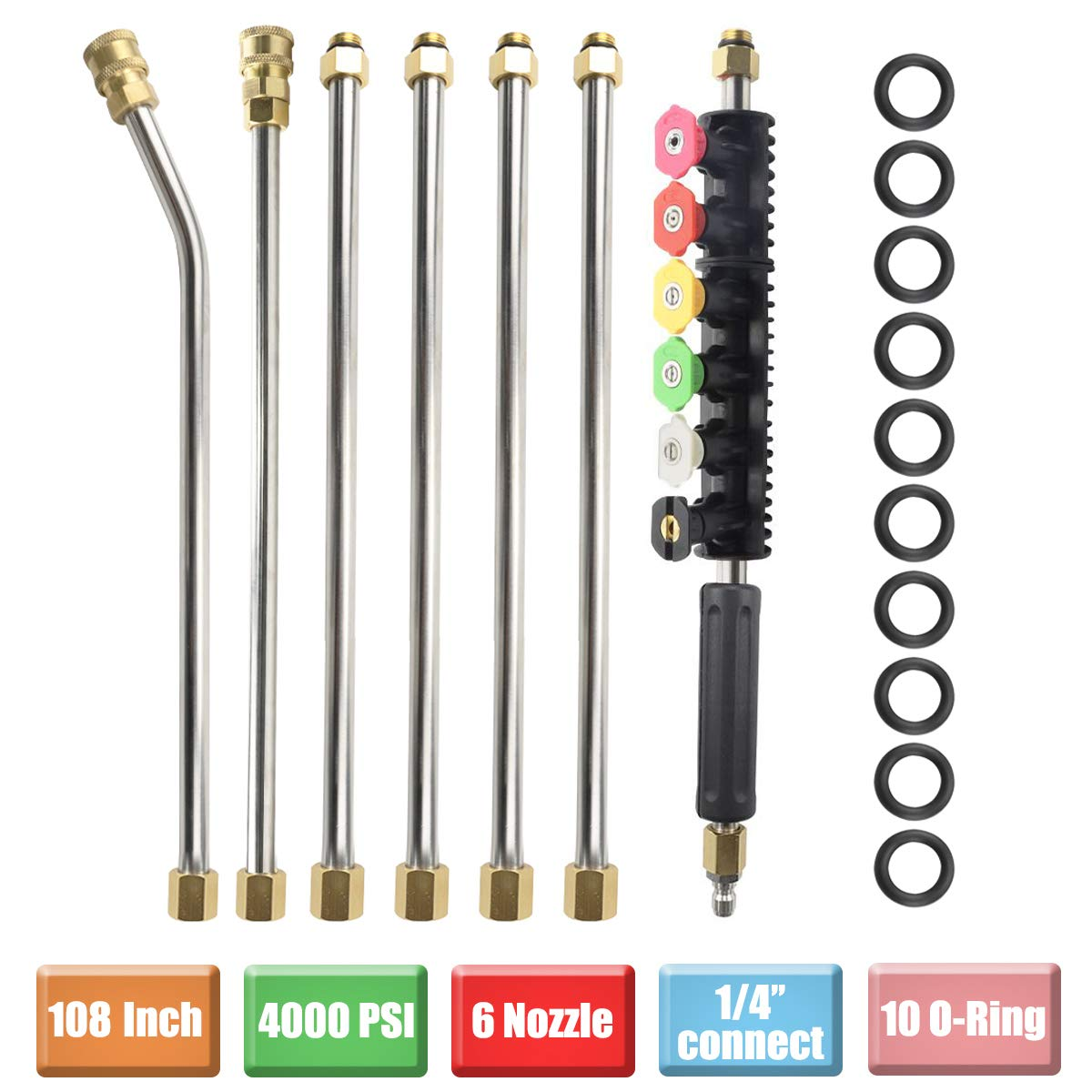 Pressure Washer Extension Wand Set, Replacable Power Washer Lance with 6 Spray Nozzle Tips Design,30 Degrees Curved Rod, 1/4''Quick Connect, 10 Replacable Anti-Leaked Ring, 4000 PSI