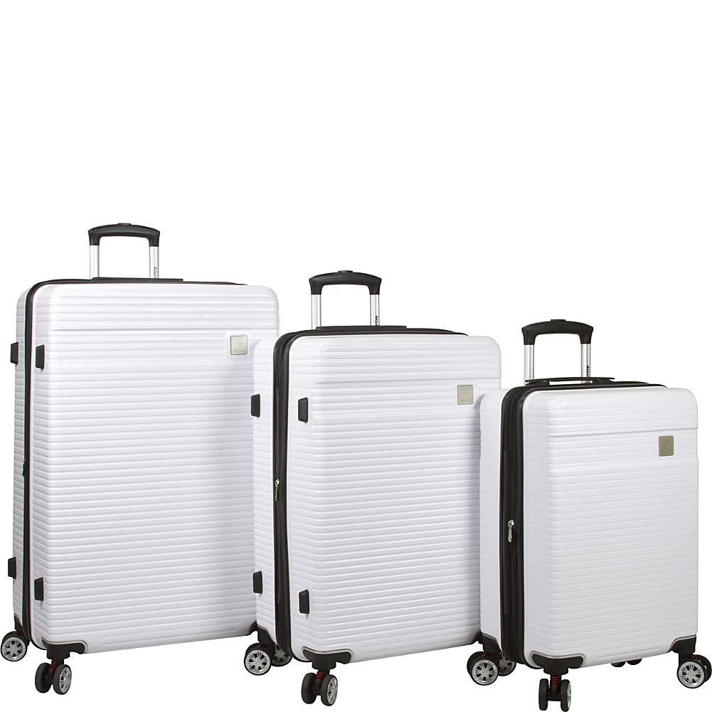 Dejuno Ashford 3-pc Hardside Spinner TSA Combination Lock Luggage Set-White
