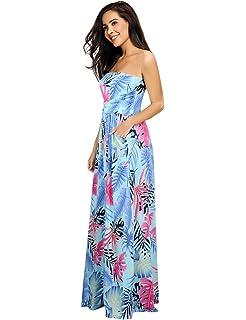 34a50b8a6b6d Leadingstar Women Strapless Maxi Vintage Floral Print Graceful Party Long  Dress