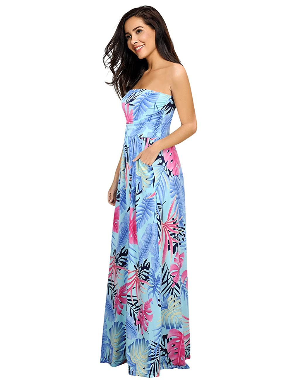 48463cac1d2 Amazon.com: Leadingstar Women's Floral Casual Beach Party Maxi Dress:  Clothing