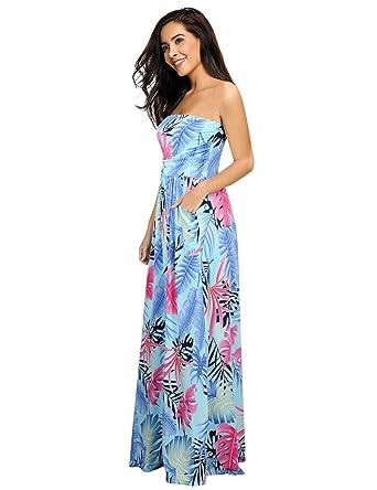 a9ef44b41e7 Leadingstar Women's Strapless Backless Summer Tropical Dress (Blue Leaf, ...