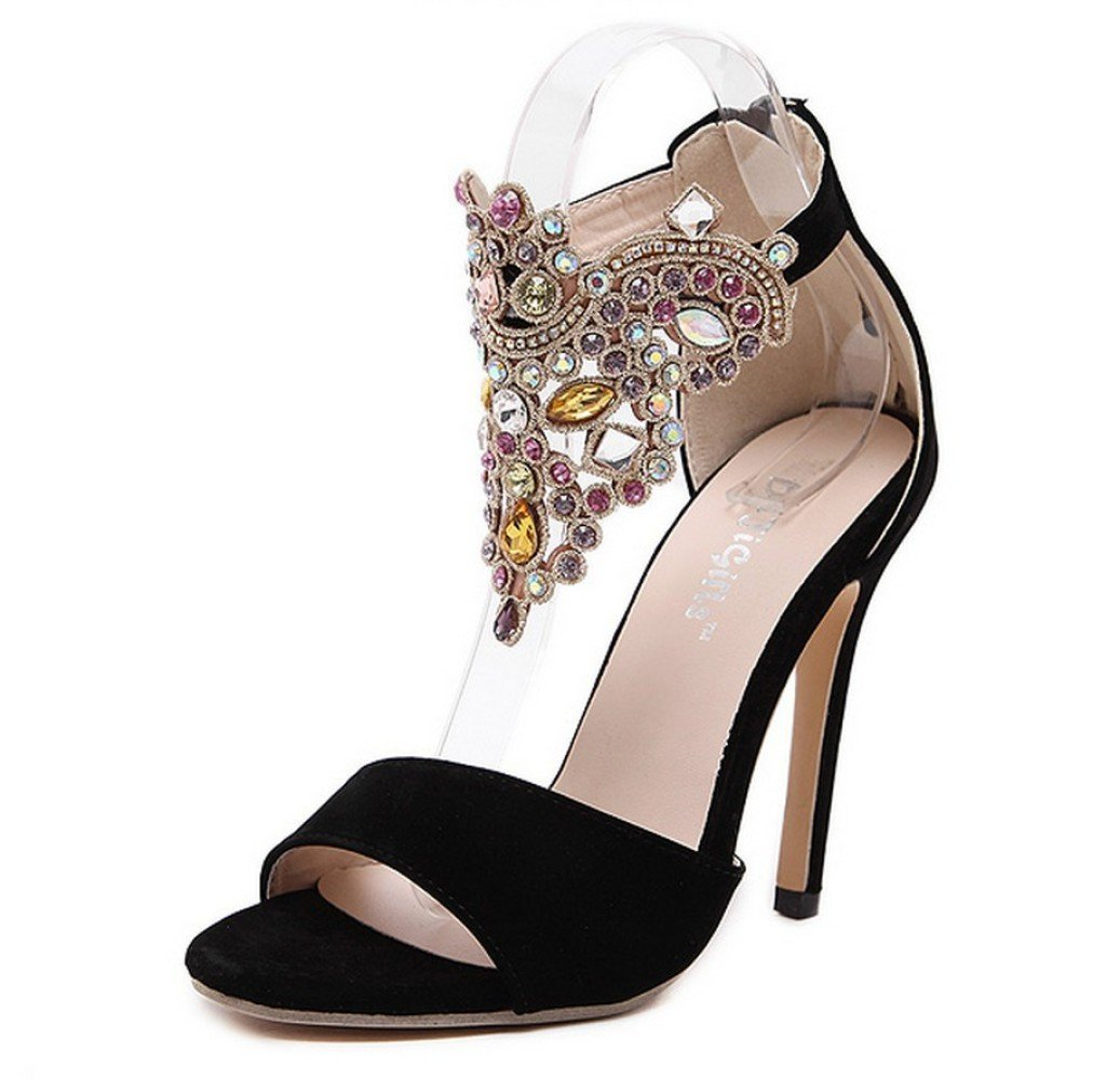 ZYQME 8101 Womens Strass Cheville Cheville Strap Sandales Stiletto Talon Talon Haut Dames Ouvertes Toe Party Chaussures De Soirée Black 20aa5ad - piero.space