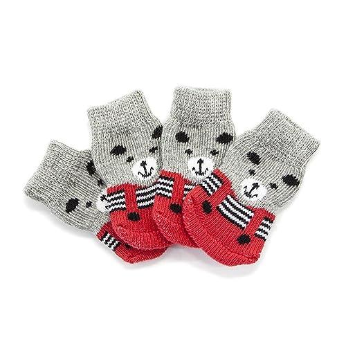 Calcetines para Perros, Pies Antideslizantes, Zapatos De Algodón para Mascotas, Calcetines De Invierno