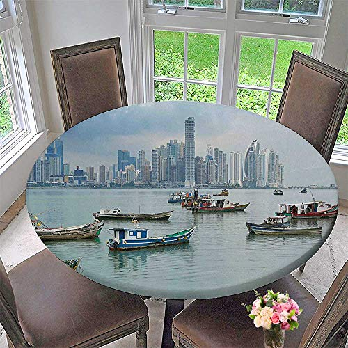 Mikihome Chateau Easy-Care Cloth Tablecloth Boats Skyscrapers Panama Pacific Coast Central America for Home, Party, Wedding 63