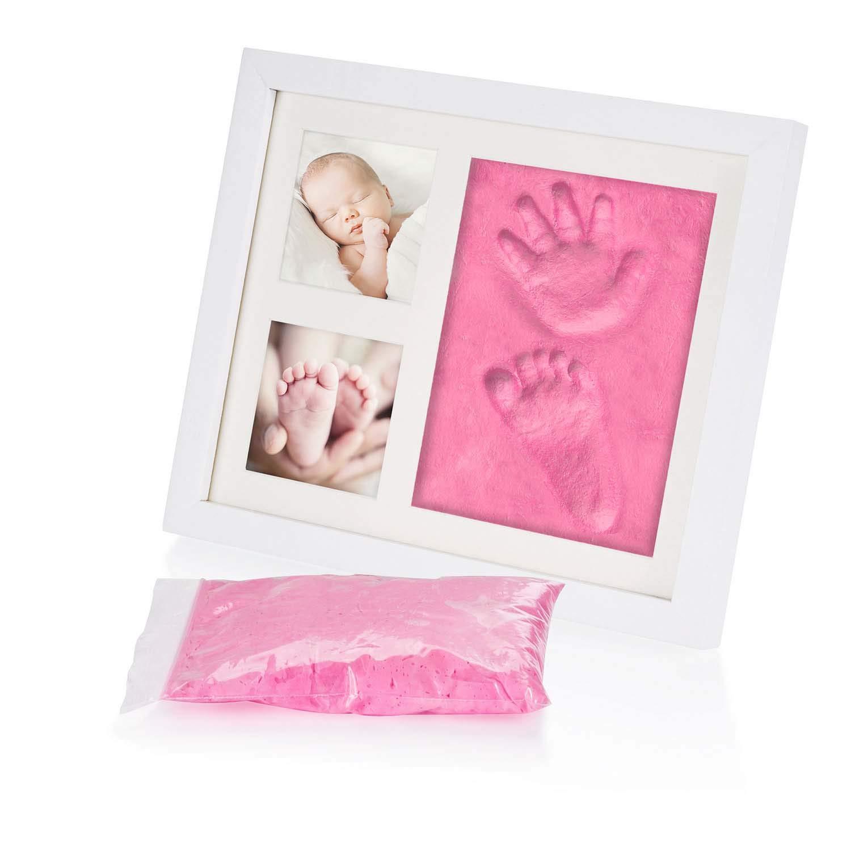 Baby Bilderrahmen Gipsabdruck-Set Fotorahmen Gips f/ür Hand-Abdruck Fu/ß-Abdruck /& Fotos; Special Edition mit Pink-Rosa Gipsmasse