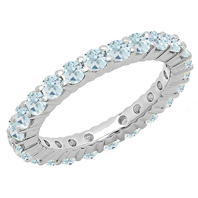 1.00 Carat (ctw) 14K Gold Round Aquamarine Ladies Eternity Wedding Anniversary Stackable Band 1 CT