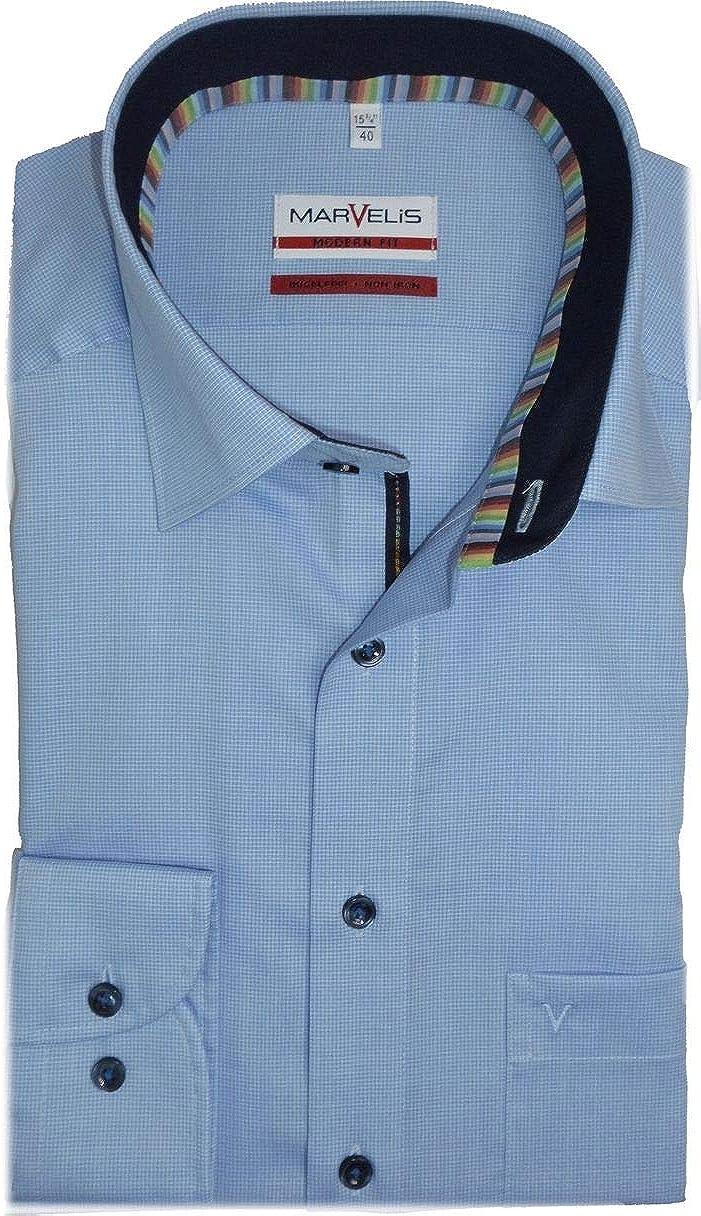 Camisa de corte moderno de Marvelis, manga extralarga de 69 cm, no necesita planchado, de algodón puro, color azul: Amazon.es: Ropa y accesorios
