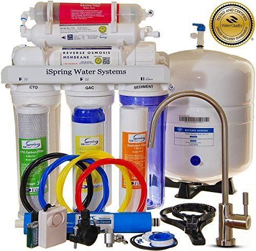 Filter System Purifier Water - iSpring RCC7AK 6-Stage Superb Taste High Capacity Under Under Sink Reverse Osmosis Drinking Water Filter System with Alkaline Remineralization - Natural pH, White