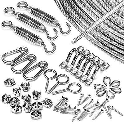 Fuloon String Light Hanging Kit,Outdoor Light Guide Wire,Heavy Duty Stainless Steel Cable Railing Suspension Kits Include 150 FT Wire Rope Cable,Turnbuckle and Hooks
