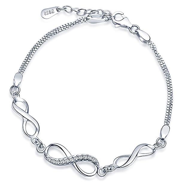 ecce9493df41 Yumilok - Pulsera de Eslabones para Mujer con Símbolo del Infinito de Plata  de Ley 925 con Circonita Longitud 16