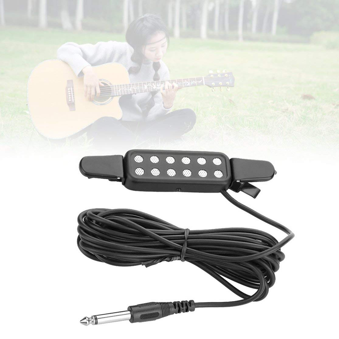 LouiseEvel215 12-Loch-Clip auf Tonabnehmer Mikrofon Drahtverst/ärker Lautsprecher f/ür akustische E-Gitarre Wandler Gitarrenzubeh/ör