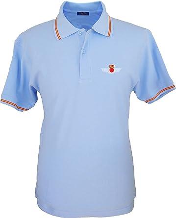 Pi2010 – Polo Ejército del Aire para Hombre, Color Azul Celeste, Bandera España en Cuello y Mangas, 100% algodón: Amazon.es: Ropa y accesorios