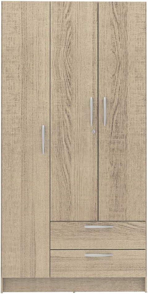 Madesa - Armario de 3 Puertas con 2 cajones y 4 estantes (1,8 m de Altura): Amazon.es: Hogar