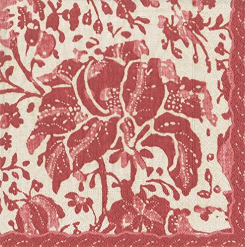 (Paper Napkins Country Rustic Christmas Decor Red Washed Print Dessert Napkin Pk of 40)