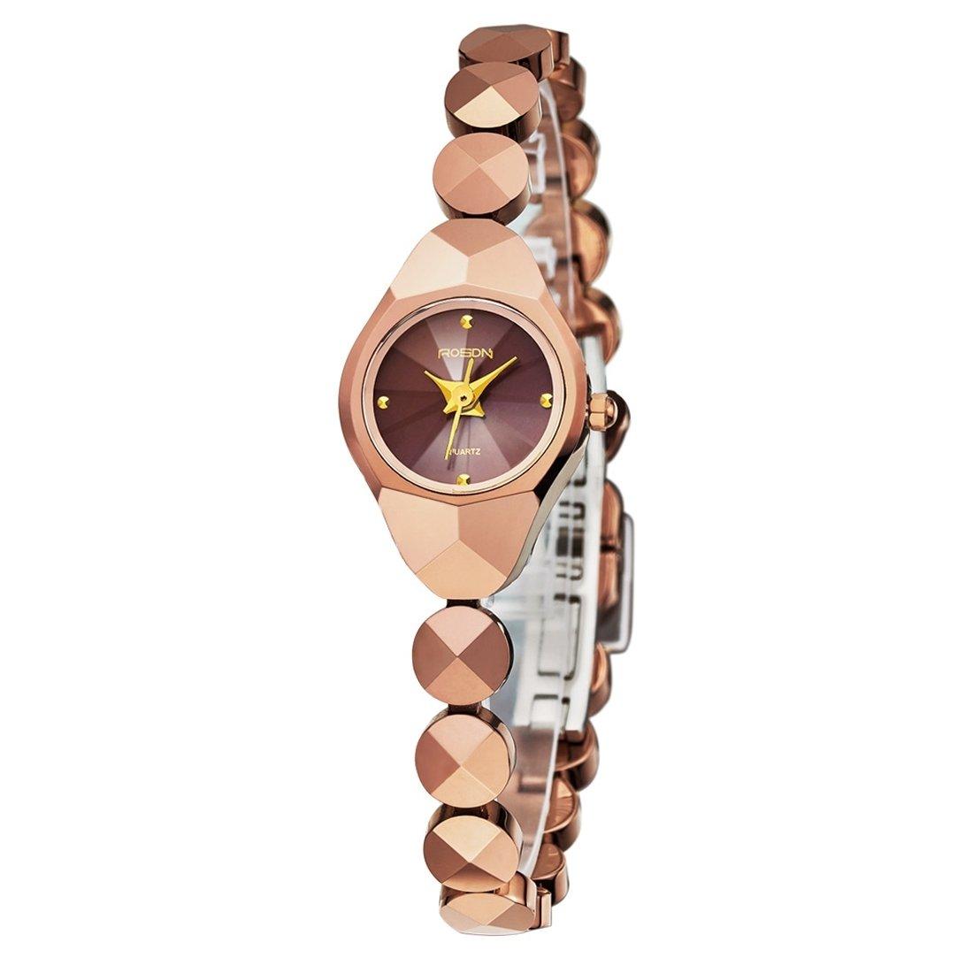 SchÖne Uhren - ROSDN Sapphire Spiegel Strass Skala Quartz Damenuhr mit reinen Wolfram Stahlband