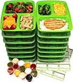 Meal Prep Containers 3 Compartment [14 Pack] & Leak Proof 1oz Sauce Cups. Microwave & Dishwasher Safe, BPA Free, Bento Lunch Box Food Containers (Alive Green)