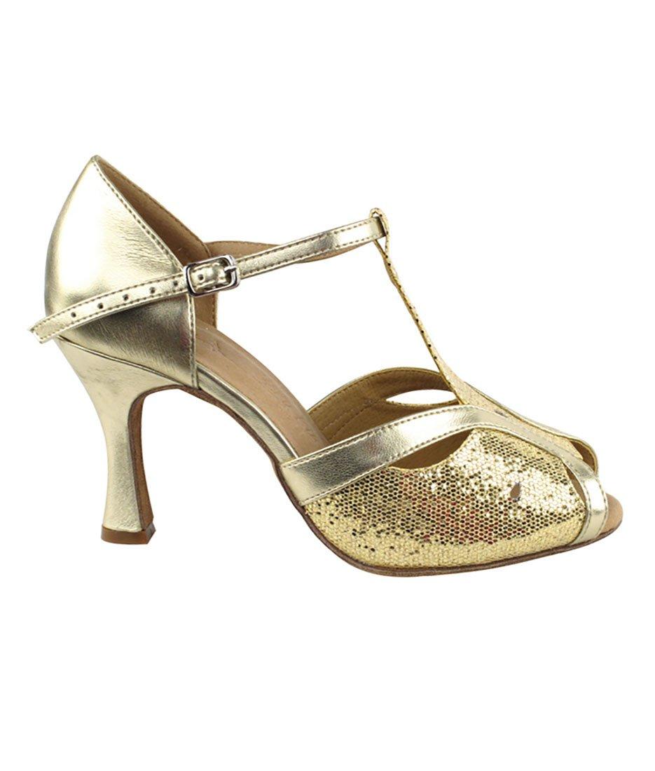Very Fine Ballroom Latin Tango Salsa Dance Shoes for Women SERA2800 2.5-inch Heel + Foldable Brush Bundle - Gold Scale-Light Gold - 7.5 by Very Fine Dance Shoes (Image #2)