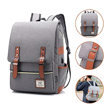 4f9ab24a8034 Joyhill Vintage Laptop Backpack for Women Men, Slim Waterproof Fashion  Daypack for College School Travel Fits 15.6 Inch Laptop & Notebook  (Gray(USB))