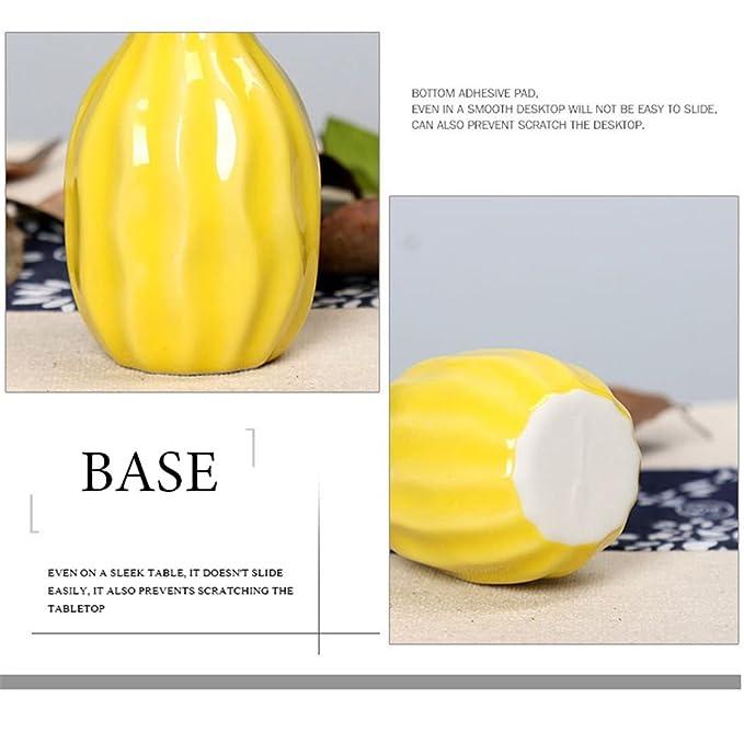 XZANTE 2unids Blanco Estilo de Onda Amarillo Jarron de Ceramica Decoracion de Oficina en casa Creativa Flores de Escritorio Botella de aromaterapia de ...
