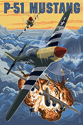 P-51 Mustang Mission with Bomber (12x18 Art Print, Wall Decor Travel ()