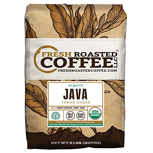 Organic Java Taman Dadar Coffee, Rainforest Association, Whole Bean Bag, Fresh Roasted Coffee LLC. (5 LB.)