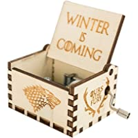 Music Box Hand Crank Musical Box Carved Wooden,Tune:The Theme Song of Game of Thrones (design2-wood)