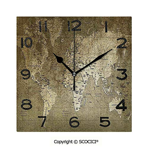 SCOCICI 8 Inch Square Face Silent Wall Clock Old World Map with Great Texture Nostalgic Ancient Plan Atlas Trace of Life World Print Unique Contemporary Home and Office Decor