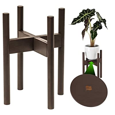 ZPirates Plant Stand with Tray - for Indoor and Outdoor House Plants - Adjustable Size fits 8 to 12 Inches Planter Pots and Holders - Mid Century Bamboo Wood (Dark Bronze Color) : Garden & Outdoor