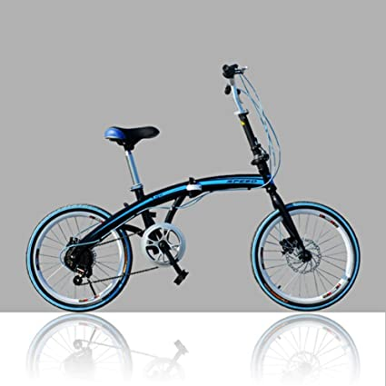 YEARLY Adults folding bicycles, Student folding bicycles U8 Men and women Foldable bikes-Blue