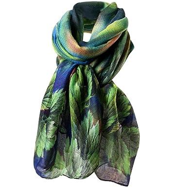 HUHU833 Écharpes châle foulards Femmes mode impression longue écharpe châle  Automne Hiver (Bleu) eb2a5b0fef1
