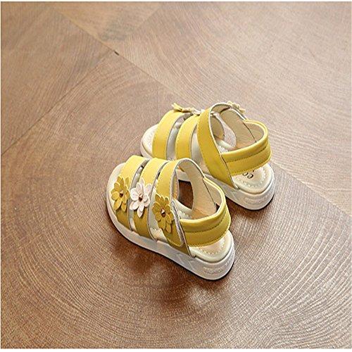 ZGSX 2017 nuevos zapatos de gran virgen sandalias de las muchachas del niño sandalias de velcro de primavera y verano de los niños Amarillo