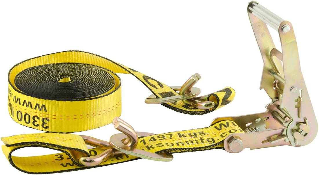 """Erickson 58629 Yellow 2"""" x 20' Ratchet Strap with Floating D-Ring"""