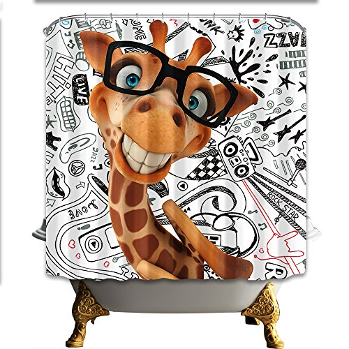 NYMB Cartoon Fancy Giraffe With Glasses 69X70in Mildew Resistant Polyester Fabric Shower Curtain