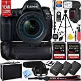 Canon EOS 5D Mark IV 30.4 MP Full Frame CMOS DSLR Camera + EF 24-70mm f/4L IS USM Lens + Pro Memory Triple Battery & Grip SLR Video Recording Bundle - Newly Released 2018 Beach Camera