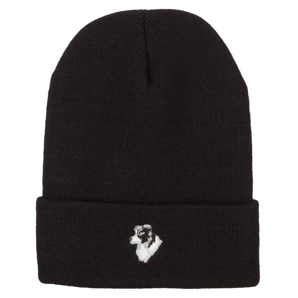 Border Collie Head Embroidered Long Knitted Beanie
