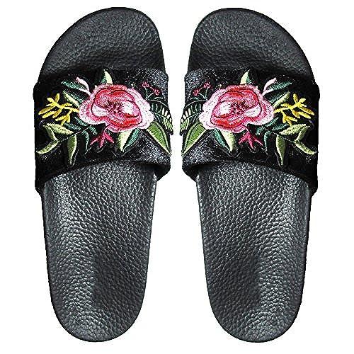 floral black slides amazon com
