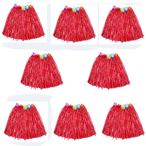 HLJgift Kid's Flowered Luau Hula Skirts Pack of 8 (Red)